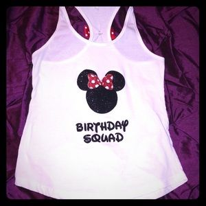 Tops - Minnie Mouse birthday squad tank top